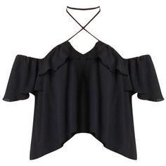 Carla Off the Shoulder Halter Blouse in Black