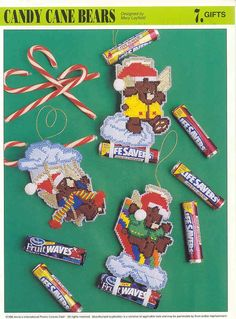 Plastic Canvas Bear Free Patterens | CANDY CANE BEARS plastic canvas pattern by puddinpop on Etsy