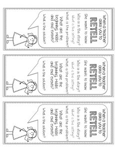 Retelling a story bookmark idea Reading Comprehension Strategies, Reading Resources, Reading Activities, Reading Skills, 3rd Grade Reading, Kindergarten Reading, Guided Reading, Teaching Reading, Learning