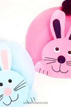 This Paper Plate Easter Bunny Craft has the cutest bobble head that bounces along, as well as its cotton tail. A fun Easter craft that's ready to hop! Mothers Day Crafts For Kids, Spring Crafts For Kids, Art For Kids, Kids Fun, Easter Crafts For Kids, Toddler Crafts, Preschool Crafts, Rabbit Crafts, Bunny Crafts