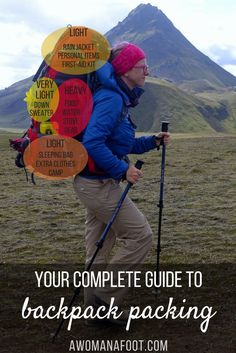 How to pack your hiking backpack to ensure comfort and safety.   #hiking   #backpacking   #camping   #hikingtips   backpack packing   #hiking101   hiking tips   awomanafoot.com