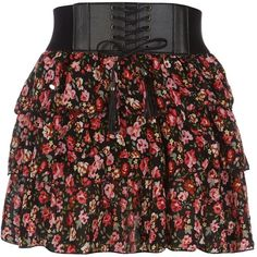 Petite Black and Pink Floral Ditsy Print Belted Skirt found on Polyvore