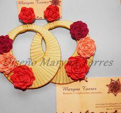 MARYNA TORRES: COMPLEMENTOS FLAMENCA Thread Jewellery, Lace Jewelry, Soutache Jewelry, Jewelery, Diamond Flower, Beading Tutorials, Hobbies And Crafts, Flower Earrings, Earrings Handmade