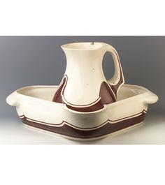 Henry Van De Velde (1863-1957) - Wash Basin and Pitcher. Painted & Glazed Porcelain. Circa 1900.