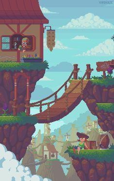 Mountain town by kirokaze Digital Art / Pixel Art / Scenes / Non-Isometric Pixel Art Gif, Pixel Art Games, Pixel Art Background, 8 Bit Art, Fantasy Landscape, Landscape Design, Funny Art, Game Design, Animation