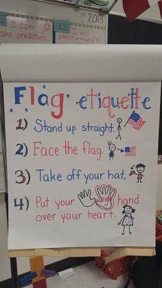 First grade flag etiquette anchor chart Kindergarten Anchor Charts, Kindergarten Social Studies, Teaching Social Studies, Kindergarten Classroom, Teaching Resources, Preschool Behavior, Classroom Behavior, Preschool Themes, Primary Classroom