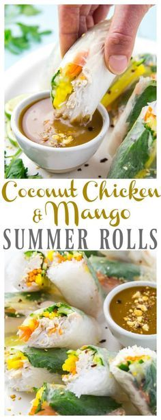 Coconut Chicken & Mango Summer Rolls with Peanut Dipping Sauce. These fresh rolls are perfect for summer entertaining or snacking on the go! via @nospoonn