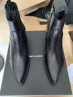 Saint Laurent Paris Saint Laurent Lukas Black Snake Skin   Grailed Saint Laurent Chelsea Boots, Saint Laurent Paris, Paris Saint, Men's Boots, Cool Boots, Mens Attire, Business Casual Men, Cartoon Wallpaper, Cuban