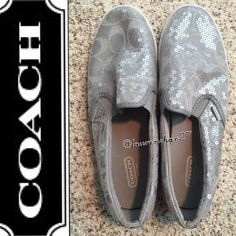 HP🎉 COACH Gray Signature Clear Sequin Slip On 8 9 Coach shoes. Size 8B. Gray Signature C pattern with clear sequins overlay. These seem to run a little big (I wear a size 9) Worn only a few times. Unfortunately, the last time I wore them I had the brilliant idea to play on the black top with the kids so the bottoms are a little black. See pic 4. There is a tiny stain on the outside, on the inside part of the right shoe. pic 3 for details. Minor scuffs on white part of shoe. Please let me…
