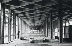 """Eero Saarinen, United States Embasy, London, Under Construction, (1957-1960)  The """"Space Frame"""" concrete ceiling, awkwardly interrupted by piers, was evidently modeled on Louis Kahn's Yale Art Gallery"""