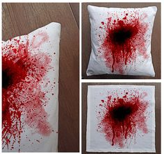 Blood Splatter Zombie Dead KIlled - Cushion Fabric Panel Or Case or with Filling