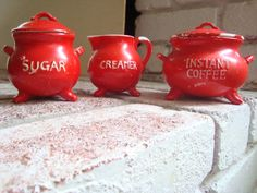 Red Mid Century Set of 3: Instant Coffee, Sugar and Creamer, Lego/Japan Kettle Pot/Cauldron, Vintage Red Kitchen Decor, Cottage Chic