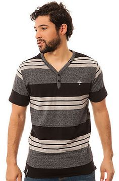 LRG Core Collection Tee The Core Collection Y Neck Striped in Black Heather