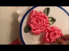 Роза вышитая атласными лентами (способ 2) - YouTube