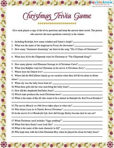 Christmas Trivia Games printable v2