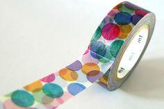 Spots Japanese Washi Tape MT Purple Orange Colorful Dots - Pretty Tape. $4.00, via Etsy.