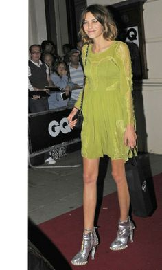 Alexa Chung style. In green Whistles dress with silver Chanel boots.
