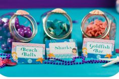 Sea Party Food, Mermaid Party Food, Party Food Labels, Mermaid Party Decorations, Mermaid Theme Birthday, Little Mermaid Birthday, Little Mermaid Parties, Mermaid Themed Party, Mermaid Pool