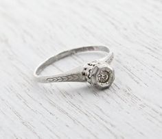 Antique Sterling Silver Rhinestone Ring - Art Deco 1920s Size 7 3/4 Faux Diamond Engagement Style Wheat Milgrain Jewelry / Raised Solitaire