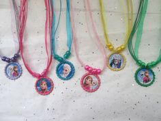Disney Frozen Princess Anna and Elsa Inspired Bottlecap Sparkle Necklace Party Favors- Choose colors and designs on Etsy, $13.99