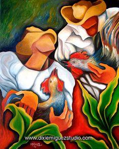 Cuban Art | Cuban Guajiro gallos art painting Miguez | Flickr - Photo Sharing! Havana, Cuba Art, Latino Art, Caribbean Art, Tropical Art, Arte Popular, Coq, Naive Art, Black Art