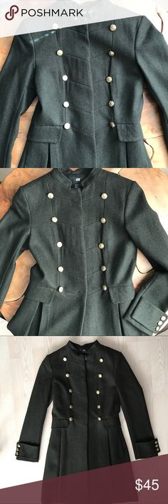 Military Style Pea Coat H&M Military Style Peacoat. H&M. Size 2 - Olive Green. Fully lined -very well constructed. H&M Jackets & Coats Pea Coats