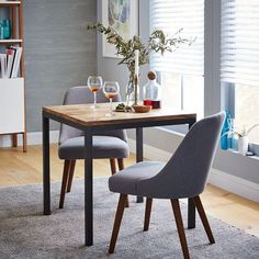 Box Frame Square Dining Table – Wood | west elm -- for the eat-in kitchen?