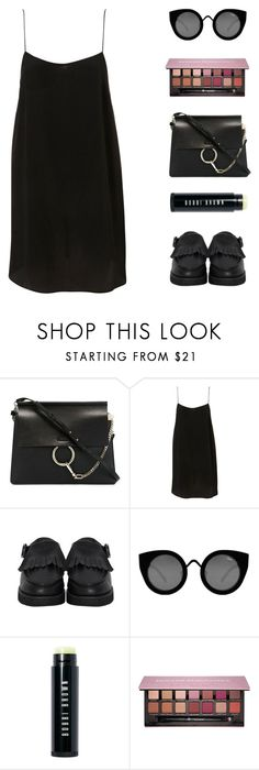 """""""POP"""" by virty8 ❤ liked on Polyvore featuring Chloé, The WhitePepper, Quay, Bobbi Brown Cosmetics, Anastasia Beverly Hills, black, slipdress, virtyfashion and Abh"""