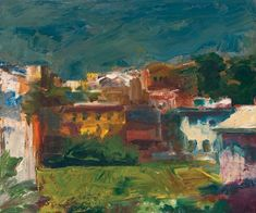 """Elmer Bischoff """"Buildings"""", 1969 Jasper Johns, Richard Diebenkorn, Art And Illustration, Abstract Painters, Abstract Landscape, Large Painting, Painting & Drawing, Bay Area Figurative Movement, Figurative Kunst"""