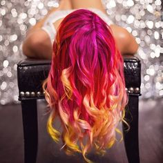 Wonderful sunset hairstyle with Rose red ombre hair color~ long-term maintain bright hair color