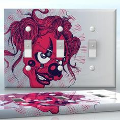 DIY Do It Yourself Home Decor - Easy to apply wall plate wraps   Evil Spirit Pink girl skull wallplate skin sticker for 3 Gang Toggle LightSwitch   On SALE now only $5.95