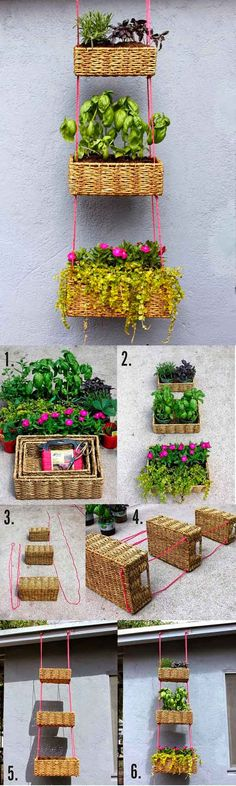 DIY Hanging Basket Garden- do a tiered basket or just use one! These reed baskets are often cheaper than hanging baskets from the garden shop! Hanging Basket Garden, Hanging Baskets, Garden Planters, Garden Art, Home And Garden, Herb Garden, Hanging Planters, Basket Planters, Garden Beds