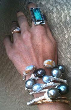 K Brunini Pearl and Opal Twig Cuffs