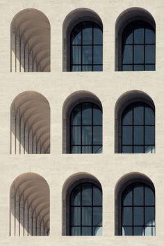 """Palazzo della Civiltà Italiana, Esposizione Universale Roma (EUR), Rome designed by Marcello Piacentini. Called the ''Colosseo Quadrato"""" (Square Colosseum), it is an icon of monumentalism and rationalism (1943)"""