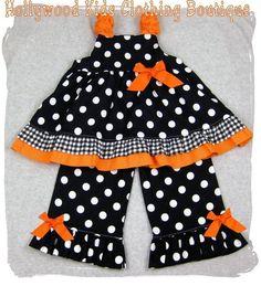 Custom Boutique Clothing Halloween Black Orange Twirl Dress Top Ruffle Pant Outfit Set 3 6 9 12 18 24 month size 2T 2 3T 3 4T 4 5T 5 6 7 8. $47.99, via Etsy.