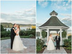 bride and groom in front of lake and gazebo at sunset at whitestone