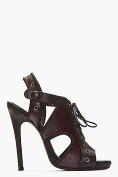 MCQ ALEXANDER MCQUEEN Burgundy Mixed-Grain Leather Lace-Up Milit Height Heels