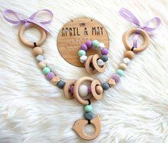 Pram garland & rattle ring teether matching set pram toy