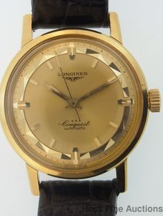 Spectacular Longines Enamel 18k Gold Conquest Automatic 1950s Mens Watch #Longines