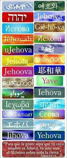 Jehovah in various languages.  At the bottom is the scripture Psalms 83:18 in Spanish. Here is what Psalms 83:18 says in English: May people know that you, whose name is Jehovah, You alone are the Most High over all the earth.