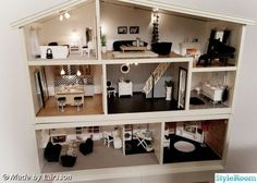 My next project (may co-run with my current one.): get hold of an old Lundby house and give it a modern makeover with a mixture of refurbished vintage, modern, and handmade furniture. Modern Dollhouse, Dollhouse Dolls, Dollhouse Miniatures, Vintage Dollhouse, Barbie Doll House, Barbie Dream House, Barbie Furniture, Dollhouse Furniture, Handmade Furniture