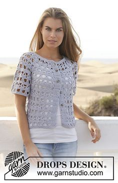 Pretty short sleeve lacy crochet cardi - Design 153-10 Nevertheless by DROPS design FREE pattern