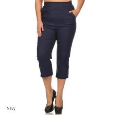 Women's and Spandex Plus-size Cropped Pants
