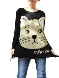 You have cat to be kitten me right meow Allegra K Long Batwing Sleeve Cartoon Cat Pattern Loose Fit Shirt for Women