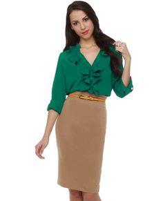 Nice green blouse.