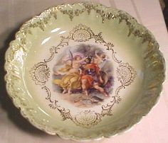 Royal Bavarian Yellow Bowl. Angel and Cherub.