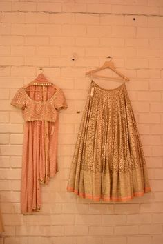 Gold lehenga with blush pink sequin blouse and dupatta