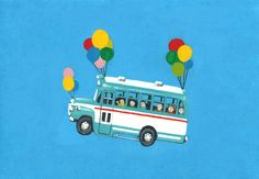 Bus fly with balloon.