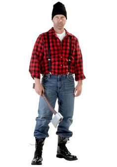Become a brawny lumberjack in this exclusive costume for men! This lumberjack costume is also available in a plus size.