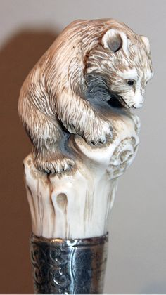 Walking cane with an ivory top of a bear, period circa Handmade Walking Sticks, Wooden Walking Sticks, Walking Sticks And Canes, Cannes, Wood Sculpture, Sculptures, Raising Canes, Walking Staff, Cane Handles